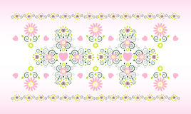 Horizontal ornament with flower. And heart Royalty Free Stock Photos