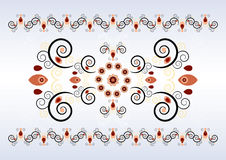 Horizontal ornament with flower Stock Photo