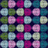 Horizontal ornament, stylized ovals feathers green, pink, purple, turquoise, yellow set on a black background Stock Photo