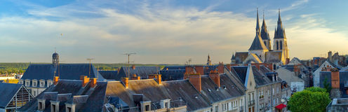 Horizontal panorama of Blois at sunset Royalty Free Stock Images
