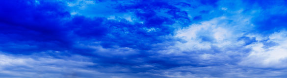 Horizontal panorama blue vivid cloudscape Royalty Free Stock Image