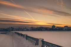 Horizontal panorama of the night winter city. Horizontal panorama of the night city Stock Photography