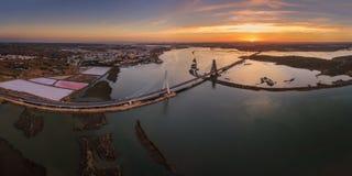 Horizontal panorama of river Arade bridge. Sunset. Royalty Free Stock Photos