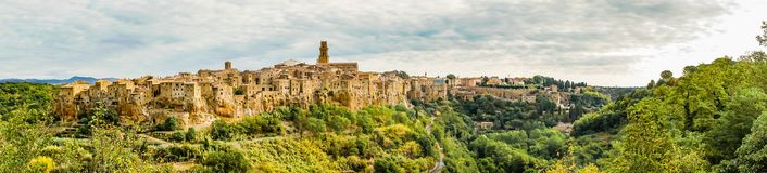 Panoramic photo of historic Pitigliano town in Tuscany Italy Stock Photography