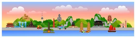 Horizontal panoramic postcard of asian famous landmarks. Summer travel, adventure, vacation. royalty free illustration