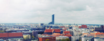 Horizontal panoramic view of the old city of Wroclaw in Poland Stock Photography
