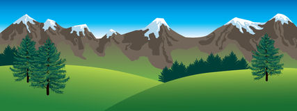 Horizontal panoramique de montagnes illustration libre de droits