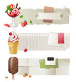 Ice cream banners. Horizontal paper banners with colorful ice cream Stock Photography