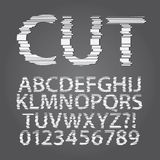Horizontal Paper Cut Alphabet and Digit Vector Stock Photography