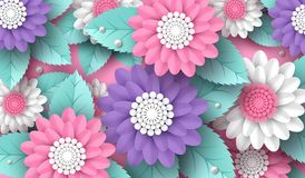 Horizontal paper cut 3d flowers background in pink, white and violet colors. Place for text. Decorative elements for. Holiday design. Vector illustration Stock Image