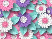 Horizontal paper cut 3d flowers background in pink, white and violet colors. Place for text. Decorative elements for. Holiday design. Vector illustration Stock Photos