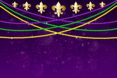 Mardi gras carnival party design. Horizontal pattern beautiful yellow, green, purple beads on a dark night background with flashes of light. Mardi Gras Party