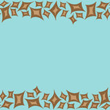 Horizontal pattern frame with brown rhombs. On brown background Royalty Free Stock Photography