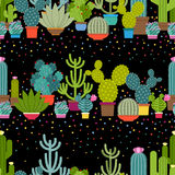 Horizontal patterns of cactus in flat style Stock Photo