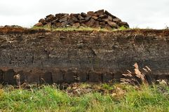 Horizontal peat digging on Harris, Scotland Stock Photo