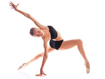 Horizontal photo of ballerina isolated on white background Royalty Free Stock Photography