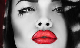 Horizontal photo of black and white female with red lips Stock Photo