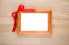 Horizontal photo frame with bow Stock Photography