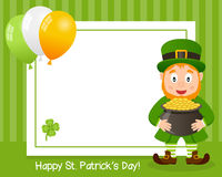 Horizontal Photo Frame with Leprechaun Stock Images