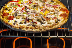 Large fresh pizza baking in oven Royalty Free Stock Images