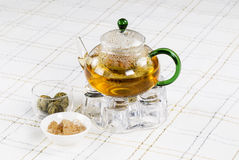Green Tea in Glass Pot Stock Images