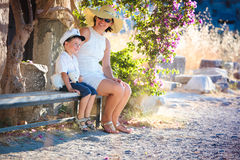 Horizontal photo of happy mother and son Stock Images
