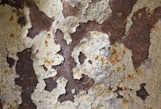 Rusty metallic photo texture with peeling paint stock images