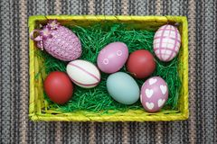 Free Horizontal Photo Of An Easter Nest / Easter Basket With Colorful Pastel Eggs. Stock Image - 109425681