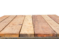 Horizontal photo of old vintage planked wood table in perspectiv Stock Image