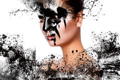 Horizontal photo of sexy woman with paint on face Royalty Free Stock Photo