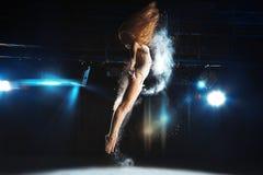 Horizontal photo of slim blonde ballerina on stage Royalty Free Stock Photo