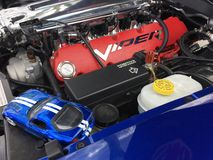 Horizontal photo of a vintage DODGE VIPER engine royalty free stock photography
