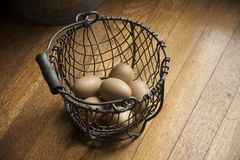 Eggs in a Wire Basket on a Wooden Background Royalty Free Stock Photography