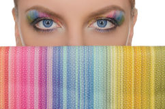 Horizontal picture multicolored eyes and wallet Royalty Free Stock Photos