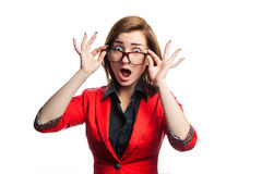 Horizontal picture of surprised business woman in white backgrou Stock Photo