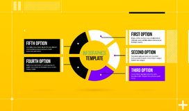 Horizontal pie infographics template with five segments in colorful hi-tech style. On bright yellow background Stock Image
