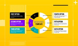 Horizontal pie infographics template with six segments in colorful hi-tech style. On bright yellow background Royalty Free Stock Photography