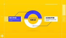 Horizontal pie infographics template with two segments in colorful hi-tech style. On bright yellow background Royalty Free Stock Photo