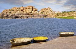 Horizontal pittoresque de nature Hampi, Inde Image stock