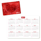 Horizontal pocket calendar. On 2017 year. Vector template pocket calendar with illustration cover stock illustration