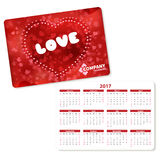 Horizontal pocket calendar. On 2017 year. Vector template pocket calendar with illustration red heart and text love stock illustration
