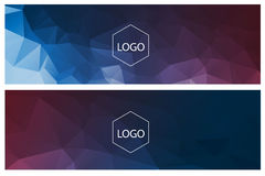 Horizontal polygonal banners. Colorful horizontal polygonal banners with logo on white Royalty Free Stock Image