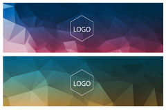 Horizontal polygonal banners Stock Images
