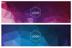 Horizontal polygonal banners. Colorful horizontal polygonal banners with logo on white Royalty Free Stock Photos