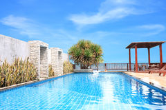 Horizontal pool on deck building. Royalty Free Stock Image