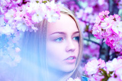 Horizontal portrait of adorable young blonde in blooming flowers Stock Photography