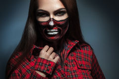 Horizontal portrait of adult girl with scary face art for hallow Royalty Free Stock Images