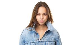 Horizontal portrait of an attractive young woman in jeans jacket Royalty Free Stock Photo