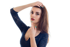 Horizontal portrait of a beautiful brunette with red lipstick and lace Bodysuit Stock Image