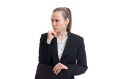 Horizontal portrait of beautiful business woman in black suit is  on a white background Royalty Free Stock Image